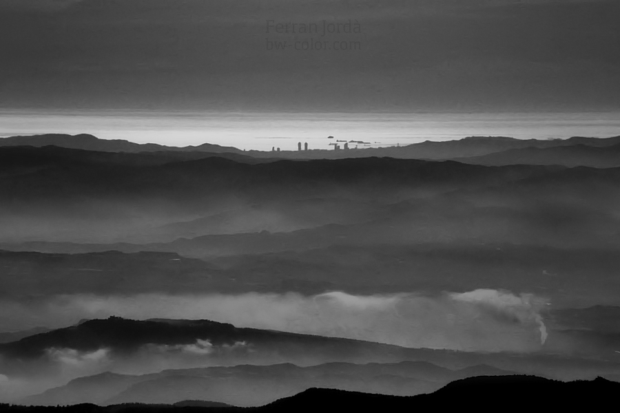 Barcelona skyline from the Pyrenees